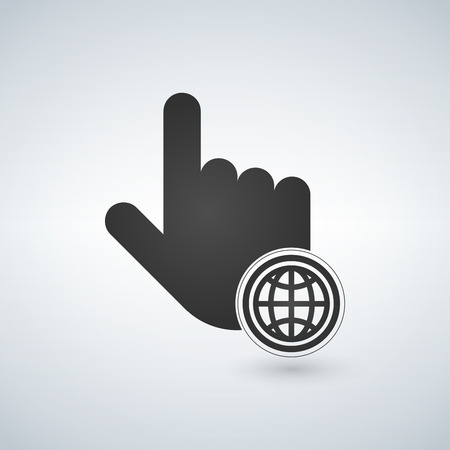 Hand mouse cursor with globe icon in the circle. Isolated vector illustration Illustration