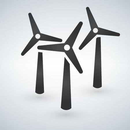 Windmill turbine icon. Drop shadow silhouette symbol. Wind eco energy. Vector isolated illustration Illustration