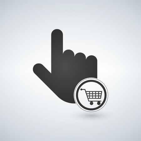 Hand pointer symbol and Shopping cart .concept for Shopping online