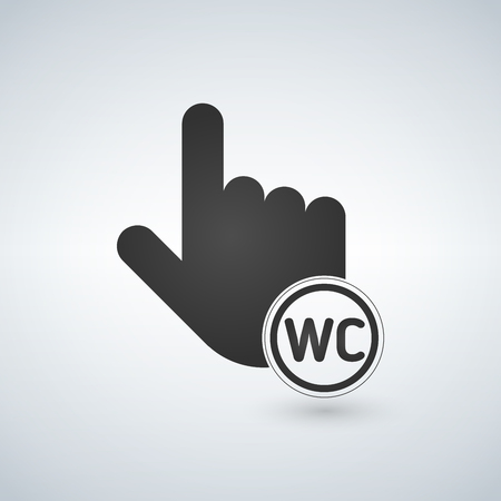 Pointing hand with wc sign in circle. Ilustração