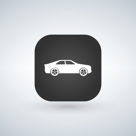 Sedan car model over black app icon, vector illustration.