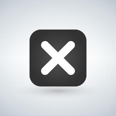 Cancel cross vector icon. Flat design square internet gray button on white background Illustration