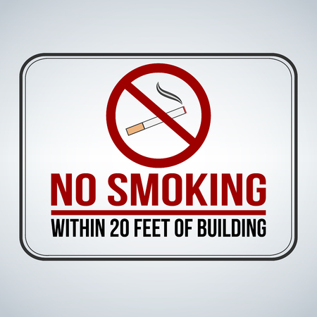No smoking sign. within 20 feet of building. Vector illustration isolated on white background