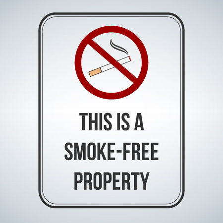 No smoking sign. This is a smoke free property. Vector illustration isolated on white background