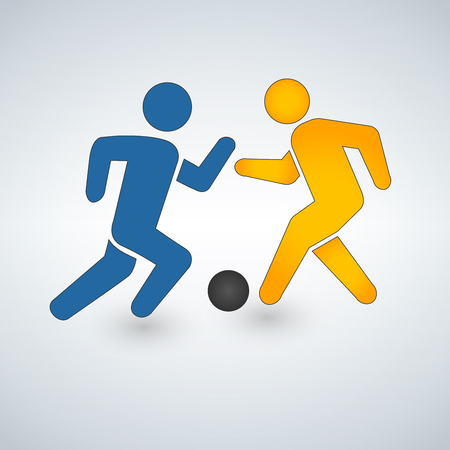 Football or soccer game with players icon vector illustration Isolated on white