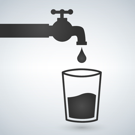 Water tap and glass icon vector illustration isolated on light background.
