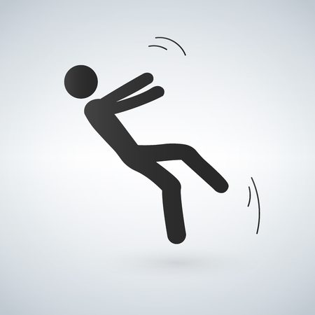 Falling person silhouette pictogram. Vector illustration on white background.
