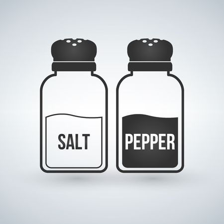 Salt and pepper shakers flat design vector icon isolated on white. Stock Illustratie
