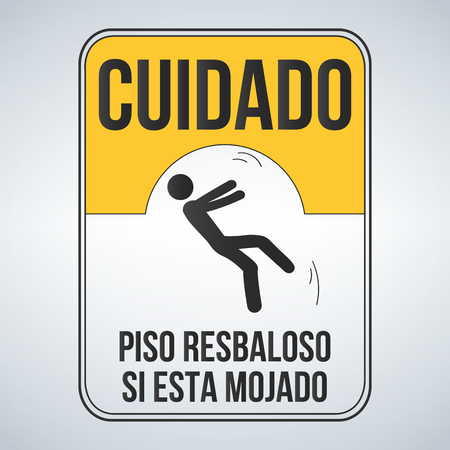Cuidado piso resbaloso si esta mojado which means, caution Wet Floor spanish sign, yellow sign with falling man in modern style. Isolated vector illustration.