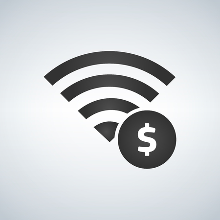 Wifi connection signal icon with money sign in the circle. Vector illustration isolated on modern background. Illustration
