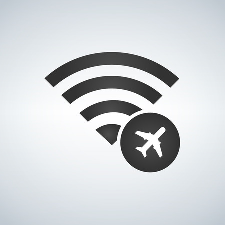 Wifi connection signal icon with plane or airport in the circle. vector illustration isolated on modern background