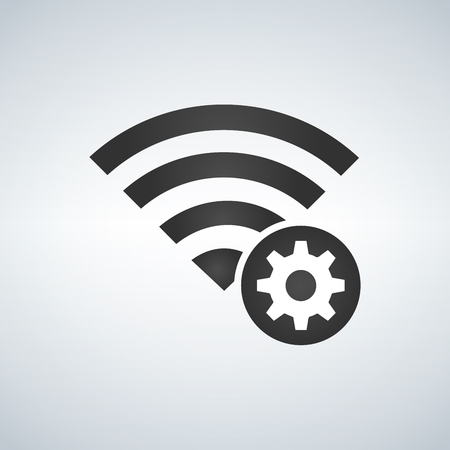 Wifi connection signal icon with gear or settings icon in the circle. vector illustration isolated on modern background Illustration