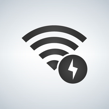 Wifi connection signal icon with lightning icon in the circle. vector illustration isolated on modern background