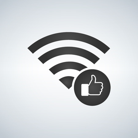 Wifi connection signal icon with hand or like icon in the circle. vector illustration isolated on modern background