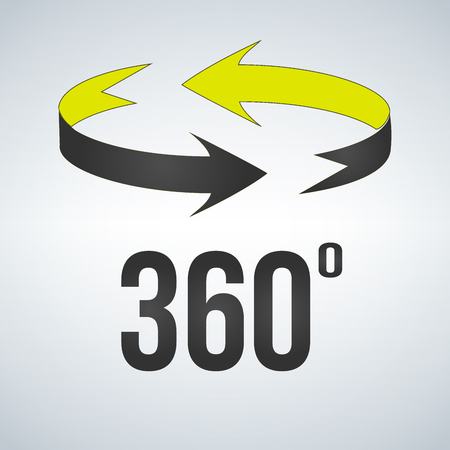 360 degrees view sign icon. vector illustration isolated on modern background