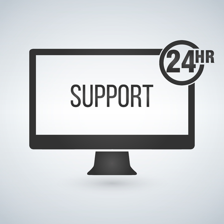 technical support, computer support 24 hours. Vector illustration isolated on modern background