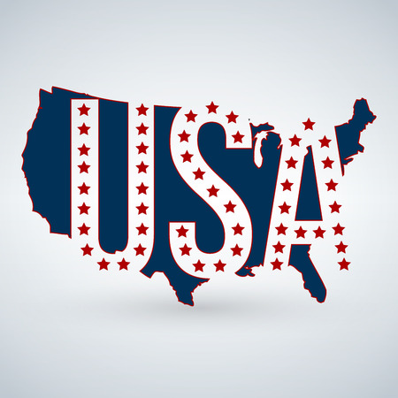 US logo or icon with USA letters across the map and 50 stars, United States of America. Vector illustration isolated on modern background with shadow
