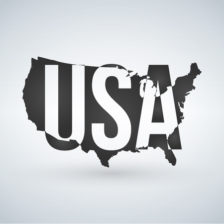 US logo or icon with USA letters across the map, United States of America. Vector illustration isolated on modern background with shadow 向量圖像