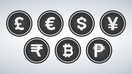 Currency Sign Black Vector Button Icon Design Set, vector illustration 向量圖像