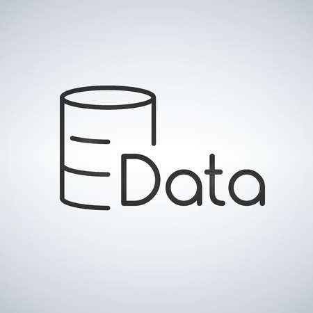 Linear Database, Server Isolated Flat Web Mobile Icon. Vector Illustration isolated on modern background Иллюстрация