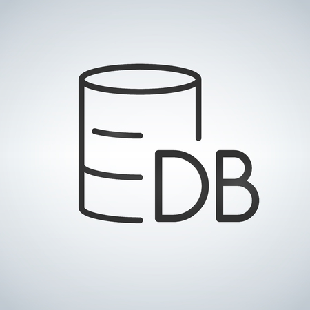 Linear Database, Server Isolated Flat Web Mobile Icon with DB word. Vector Illustration isolated on modern background Иллюстрация