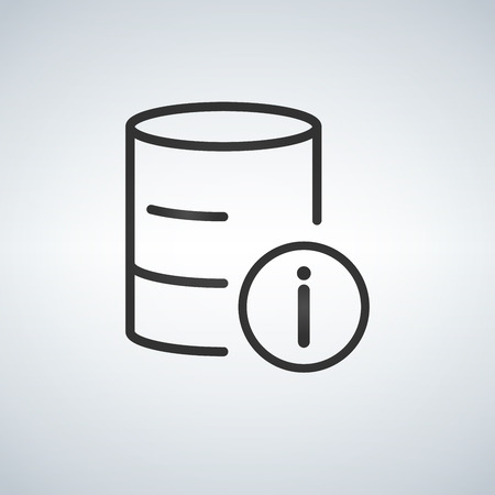 Linear Database, Server Isolated Flat Web Mobile Icon with info icon. Vector Illustration isolated on modern background