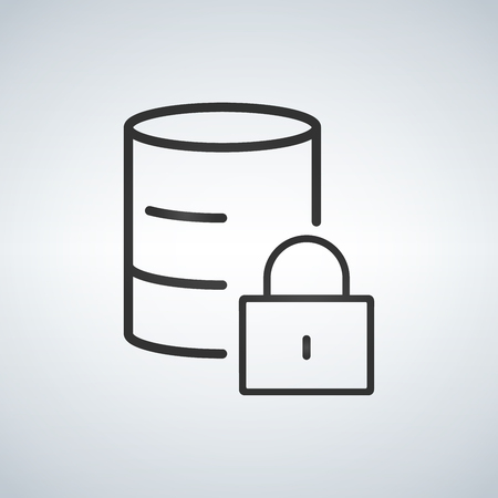 Linear Database, Server Isolated Flat Web Mobile Icon with Lock icon. Vector Illustration isolated on modern background