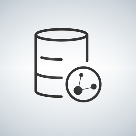 Linear Database, Server Isolated Flat Web Mobile Icon with share icon. Vector Illustration isolated on modern background