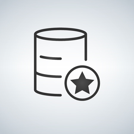 Linear Database, Server Isolated Flat Web Mobile Icon with star or favorite. Vector Illustration isolated on modern background