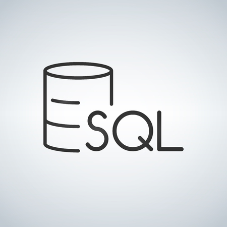 Linear Database, Server Isolated Flat Web Mobile Icon with SQL word. Vector Illustration isolated on modern background