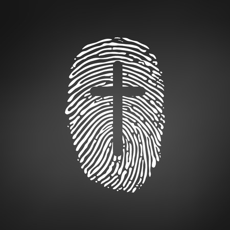 Fingerprint with cross icon Stock Illustratie