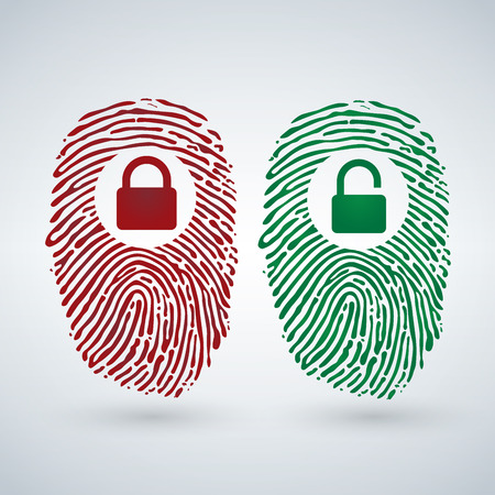 Fingerprint with lock unlock in red and green colors. Cyber security and Hacking Concept. Vector illustration isolated on modern Background.