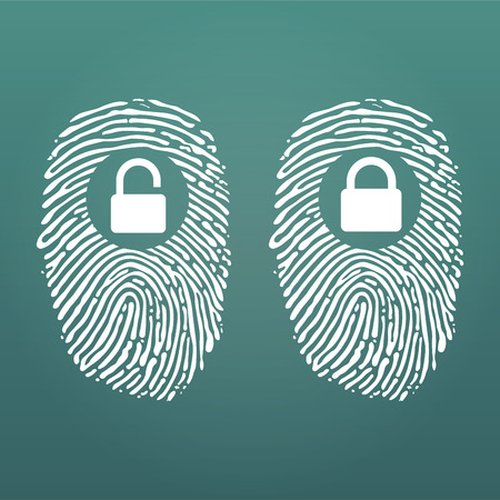 Fingerprint with lock unlock. Cyber security and Hacking Concept. Vector illustration isolated on modern Background. Illustration