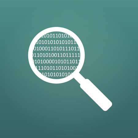 Magnifying Glass scanning and identifying a computer code. Anti virus protection and computer security concept. Vector illustration