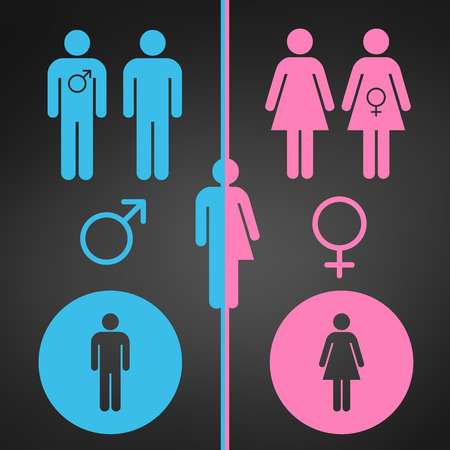 Male and female symbol set, gender concept. Usable for reports, presentations, web, apps, ui vector illustration isolated on black modern background.