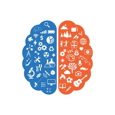 Streszczenie ludzkiego mózgu z ikonami sztuki i nauki. Pojęcie pracy lewej i prawej strony mózgu człowieka. Ikony edukacji. Ilustracja wektorowa