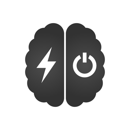 Brain with lightning or charging and turn off icon , simple vector illustration isolated on white background