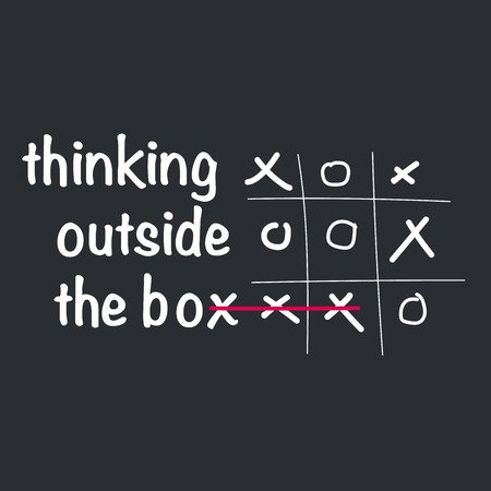 Think outside the box concept with tic tac toe game. vector illustration isolated on white background.