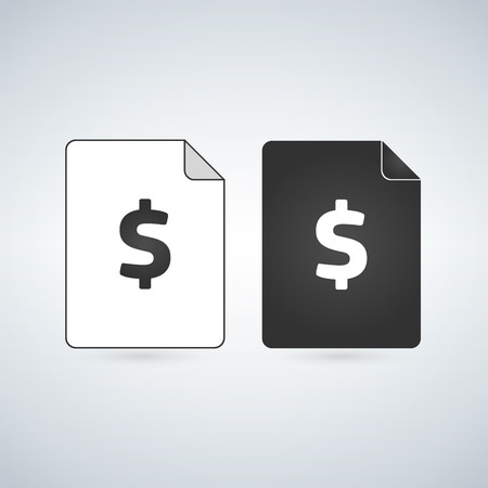 Money Document page . bill document icon - invoice symbol - office file format. vector illlustration Ilustração