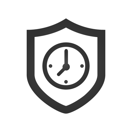 Protected guard shield clock icon . Safety badge clock icon. Presentation clock sticker shield. vector illustration Ilustração