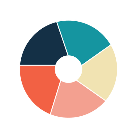 Vector circle infographic template for graphs, charts, diagrams. Pie chart concept with 5 options, parts, steps, processes