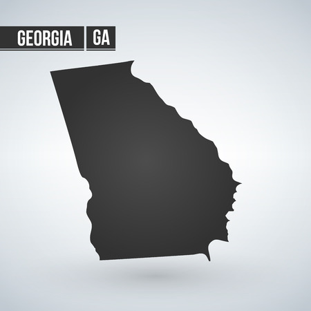 Georgia State vector map silhouette isolated on white background Иллюстрация
