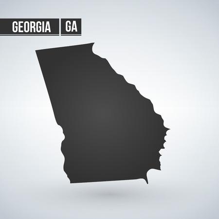 Siluetta della mappa vettoriale dello stato della Georgia isolata su sfondo bianco Vettoriali