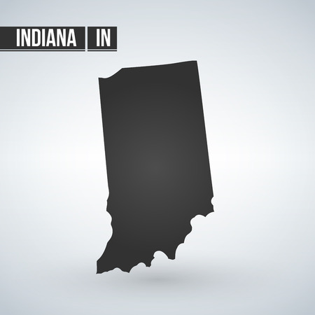 Indiana black map on white background vector