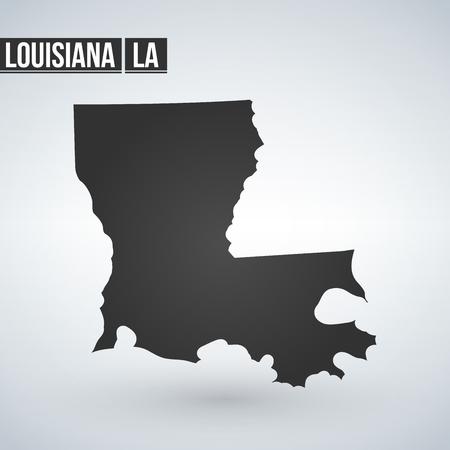 Vector map Louisiana. Isolated vector Illustration. Black on White background. EPS 8 Illustration