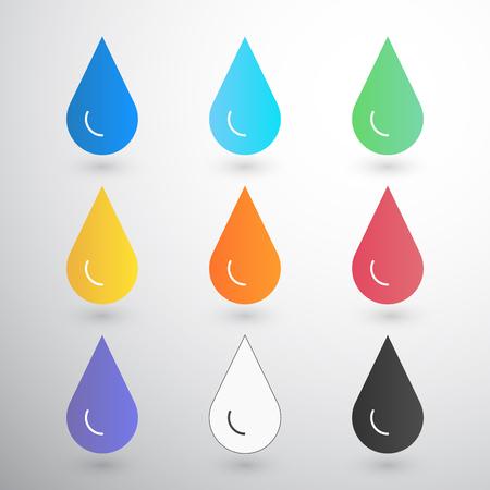 Contrast Drops with blur on white drop of water, amber, blood, ink, oil, printer etc Ilustração