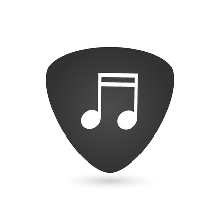 Illustration of an isolated guitar pick with a note, vector illustration isolated on white background