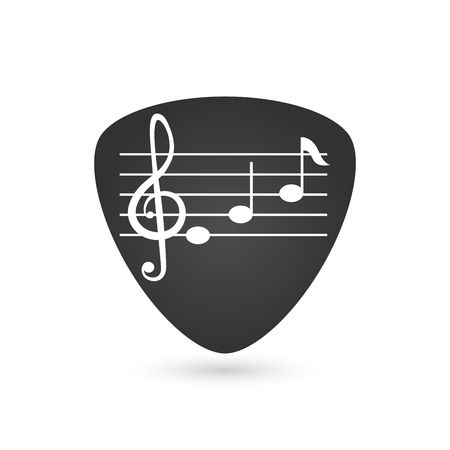 Illustration of an isolated guitar pick with a g clef and notes, vector illustration isolated on white background