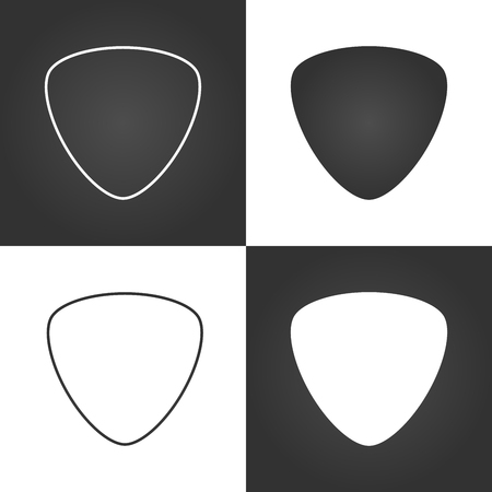 Set guitar pick icon, mediators, vector illustration Çizim