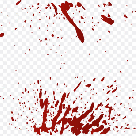 Realistic blood splatters and blood drops vector set. Splash red ink. vector illustration isolated on transparent background 写真素材 - 127720525